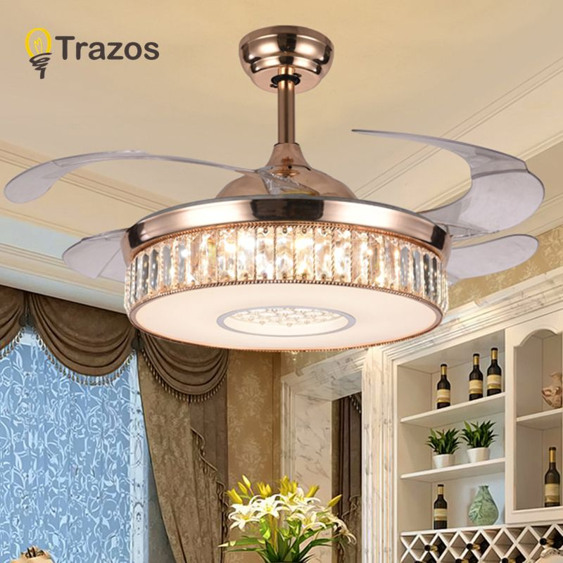 TRAZOS 42inch LED Crystal chandelier fan lights living room modern fan with remote control ventilateur plafonnier ventilador