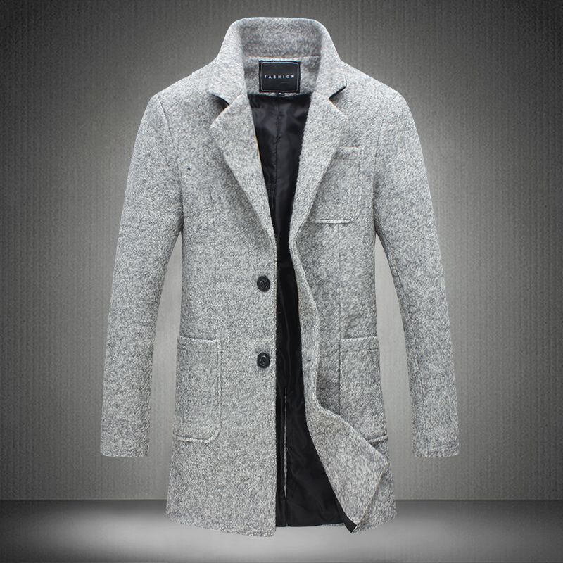 2017 New Long Trench Coat Men Brand Clothing Winter Fashion Mens Overcoat 40% Wool Thick Grey Trench Coat Male Jacket Plus M-5XL