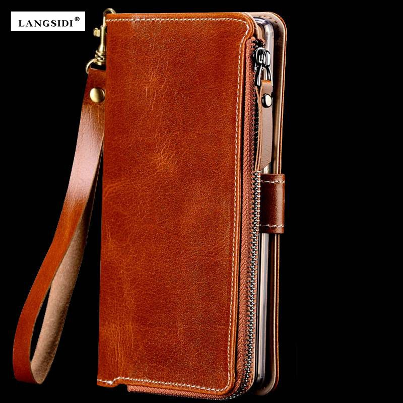 Factories Customize Multi-function Genuine Cowhide Leather Case For Xiaomi Mi Max Max  Wallet Magnetic Flip Mobile Phone Bag