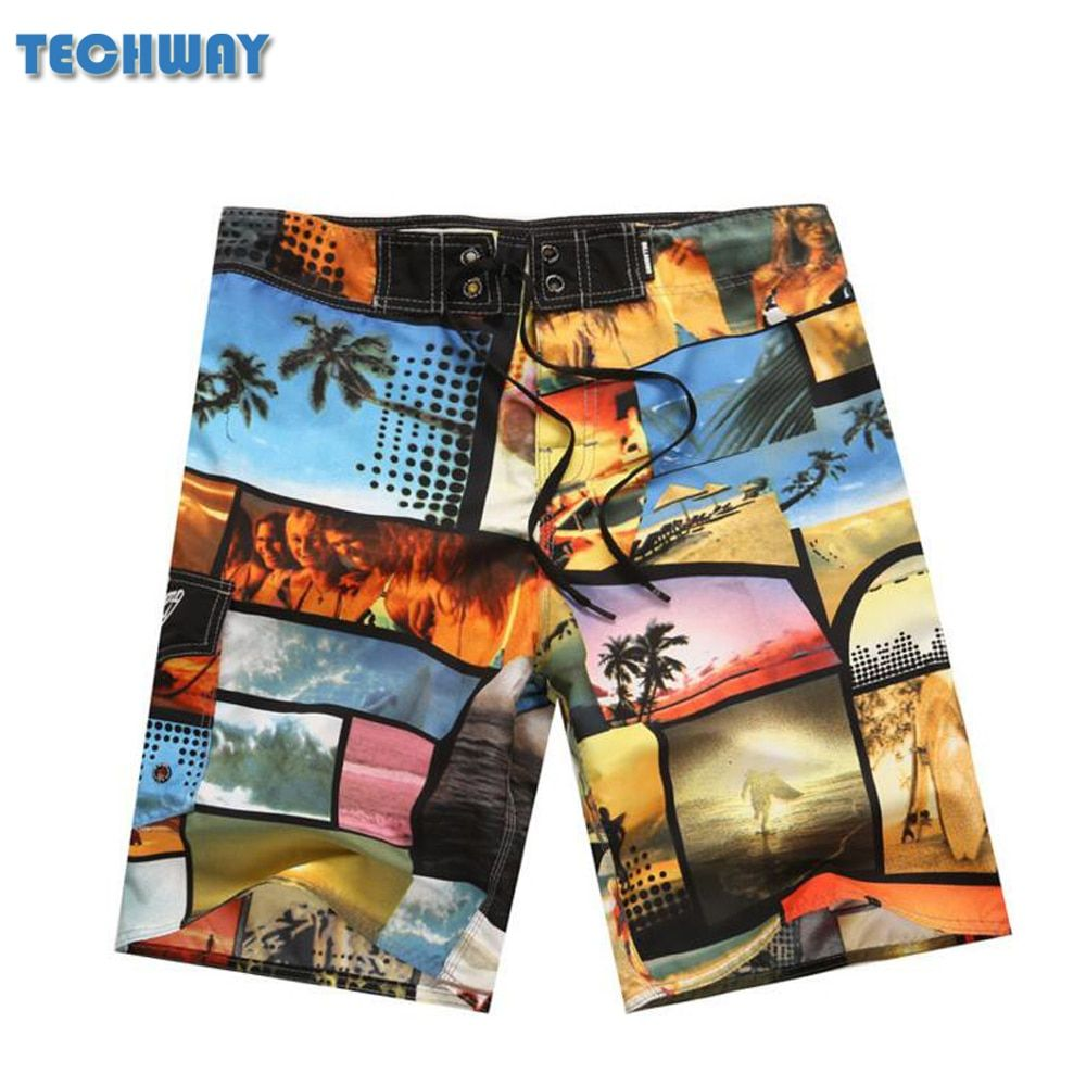 New arrive Mens Shorts Surf Board Shorts Summer Sport Beach Homme Bermuda Short Pants Quick Dry Silver Boardshorts 2017 New
