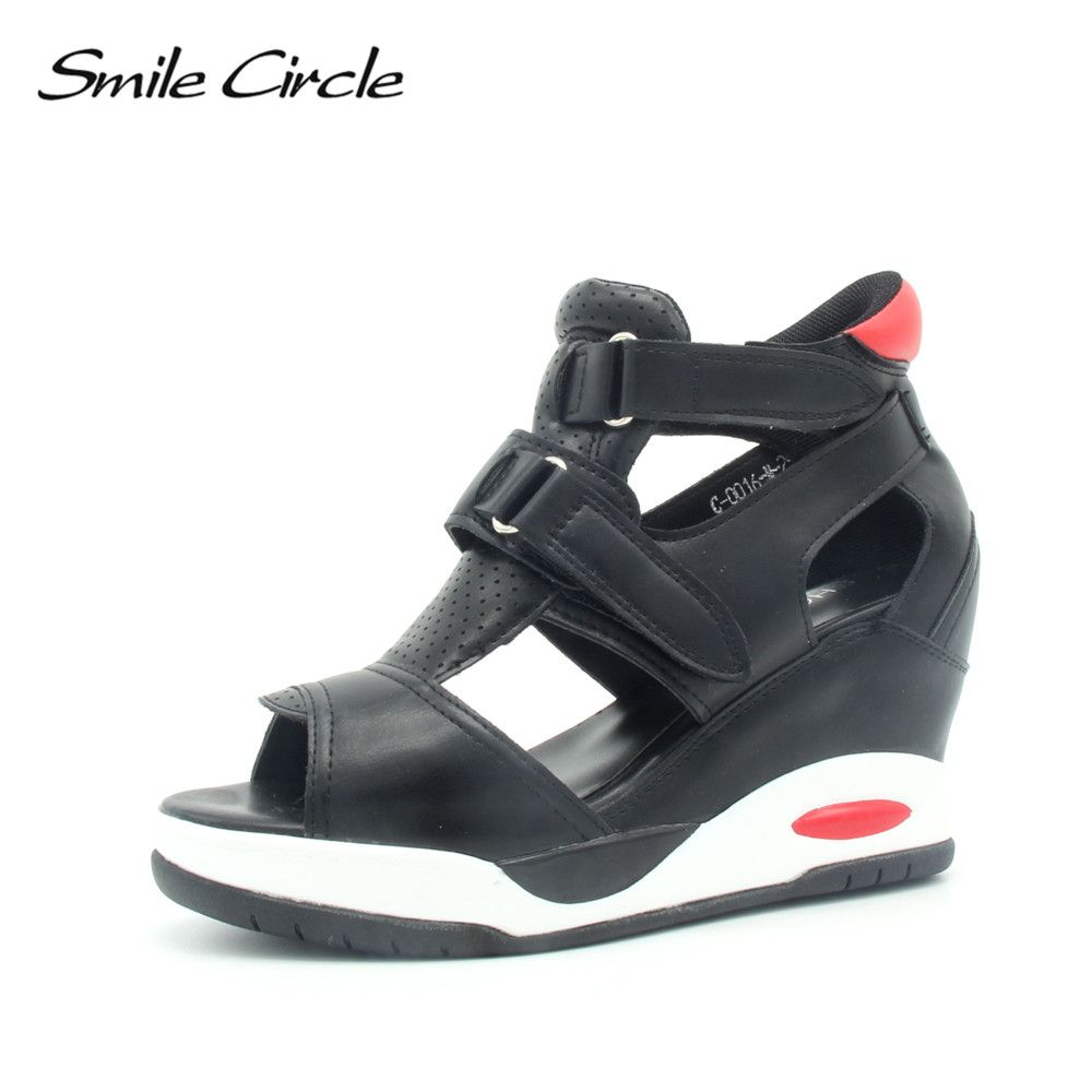 Smile Circle 2018 Summer Style Sandals Women Wedges Shoes For Women Fashion Open toe platform sandals