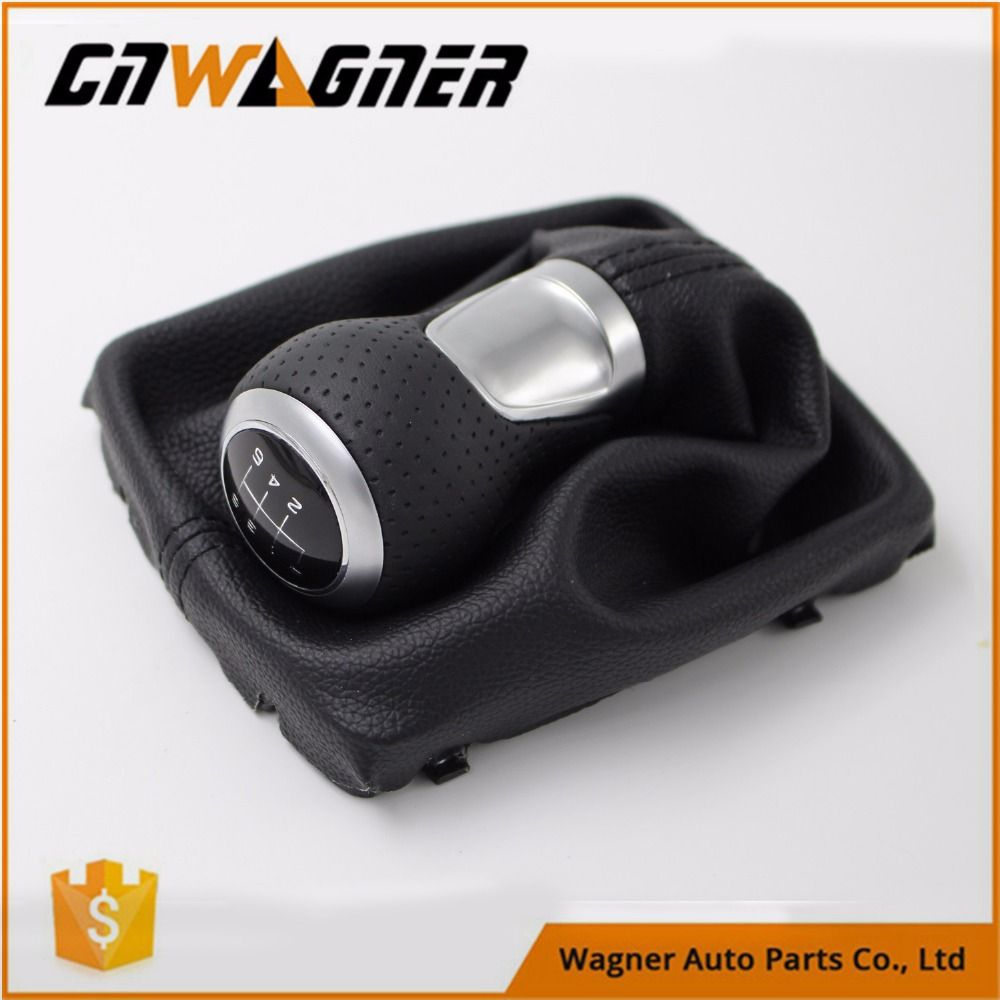 CNWAGNER 5/6 Speed Leather Gear Shift Knob Chrome ring or Red Ring For Audi A4 S4 B8 8K A5 8T Q5 8R S Line 07-15 .