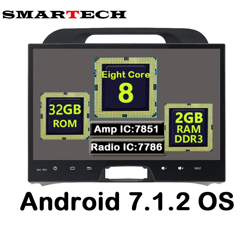 SMARTECH Eight Core Android 7.1.2 RAM 2G Fit KIA Sportage 2010-2014 Car Multimedia GPS Navigation Video Radio GPS Player WIFI