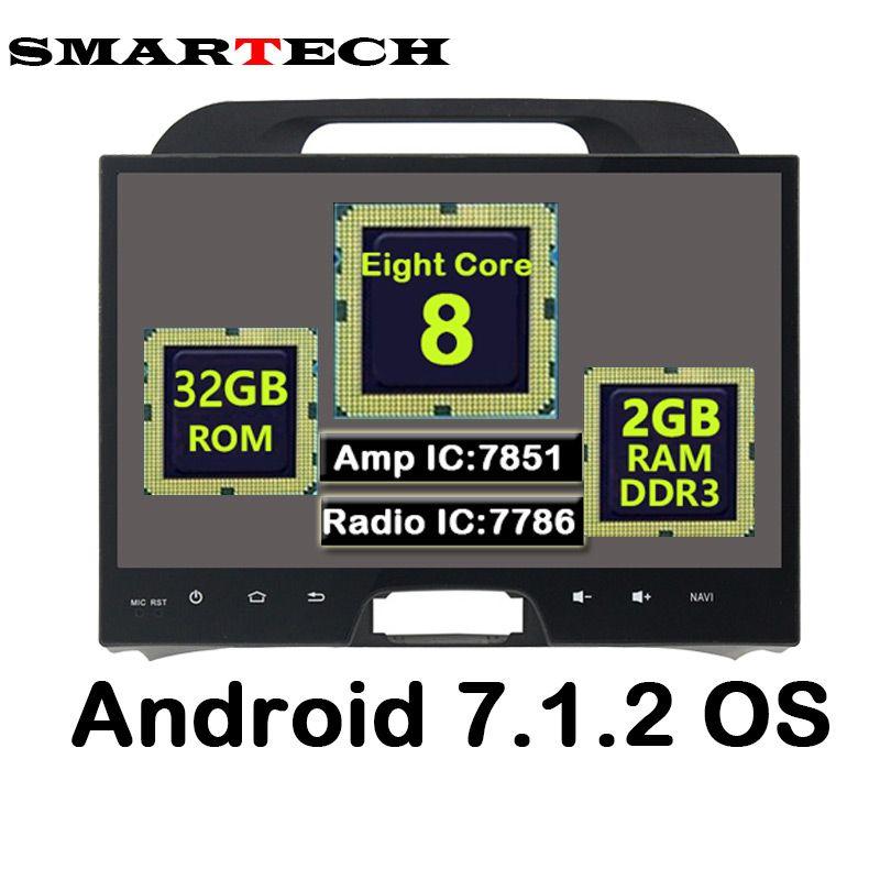 SMARTECH Eight Core Android 7.1.2 RAM 2G Fit KIA Sportage 2010-2014 Car Multimedia GPS Navigation Video Radio GPS Player WIFI