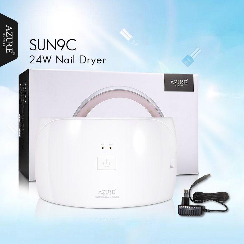 AZURE BEAUTY Nail Dryer For Gel Varnish Curing <font><b>1Pcs</b></font> SUN9C UV LED Lamp 24W Machine For Gel Nail Polish Cheap Price 15 LED Lamps