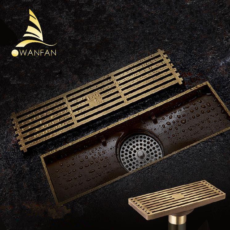 Drain Style Euro laiton Antique salle de bains douche linéaire 8*20 8*30cm plancher Drain fil crépine Art sculpté couvercle vidange B8029