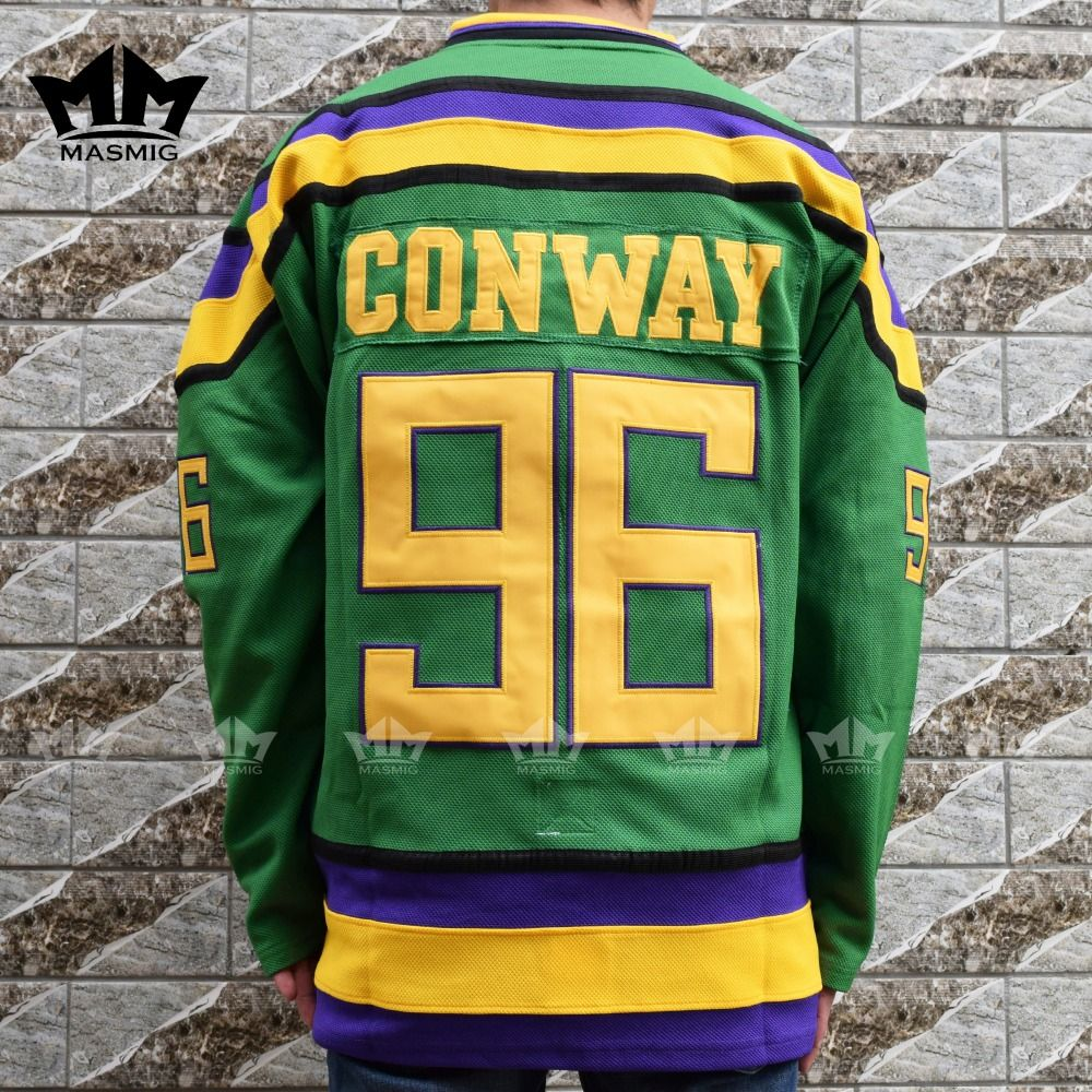MM MASMIG Mighty Ducks #96 CHARLIE CONWAY Film Hockey Jersey Vert
