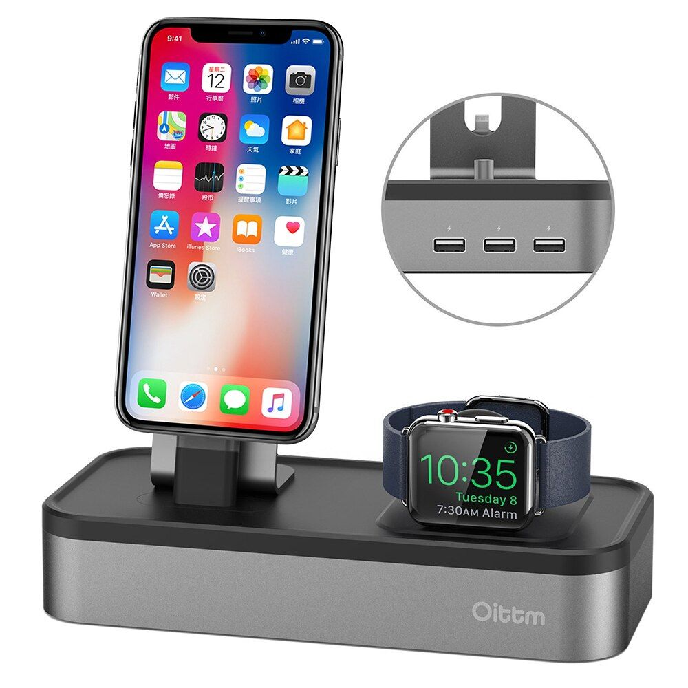 For Apple Watch Charger,4 USB Port Charger Dock for Apple Watch Series 3/2/ iPhone X/ 8 / 8 Plus/ 7/ 7 Plus /6/6S Charging Stand