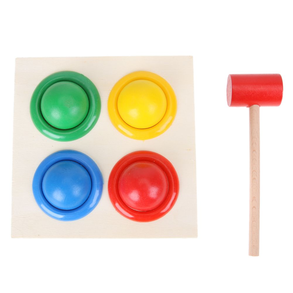 Baby Wooden Noise Maker Colorful Wood Knock Ball Kids Hammer Box Geometric Early Educational Toy