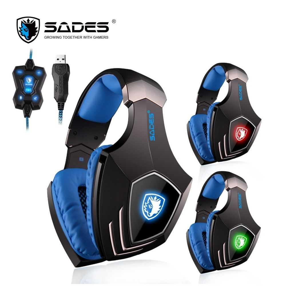 SADES A60 7.1 Surround Sound Gaming Headset USB Headphones Vibration Bass