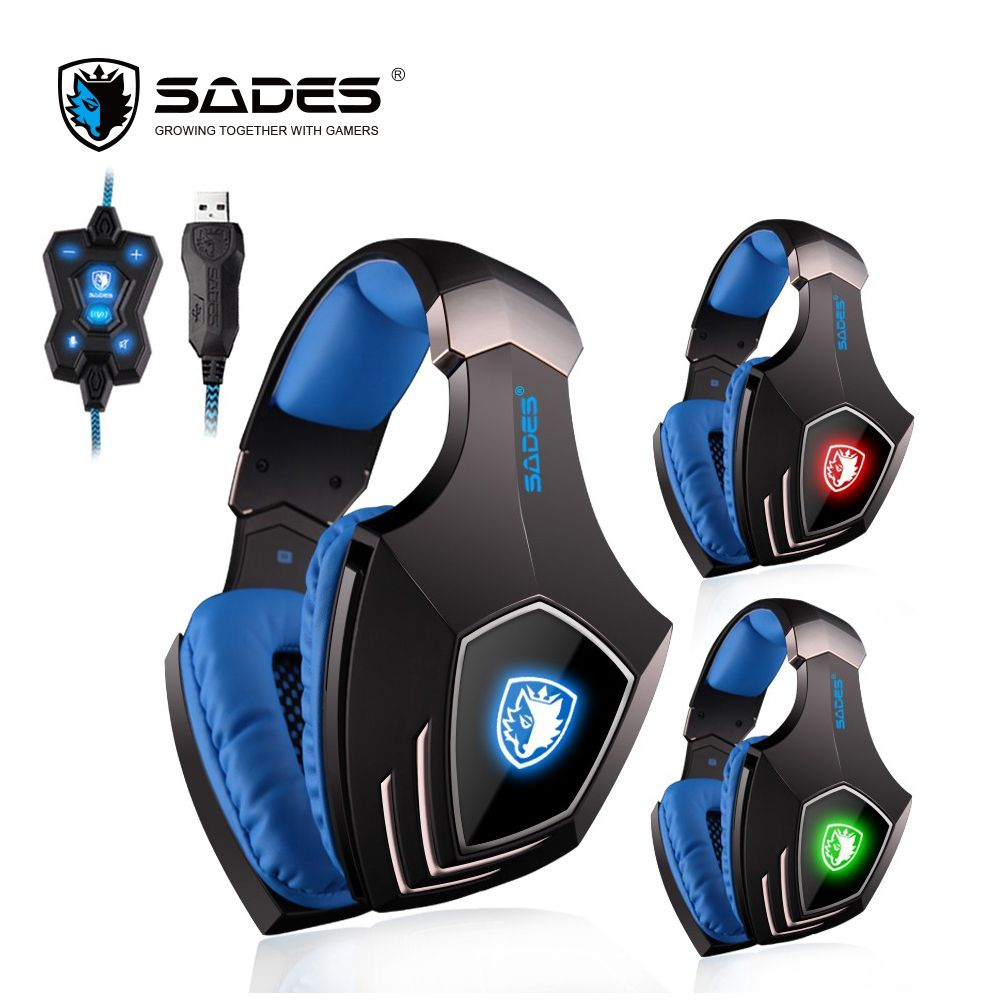 SADES A60 7.1 Surround Sound Gaming Headset USB Headphones Vibration Bass