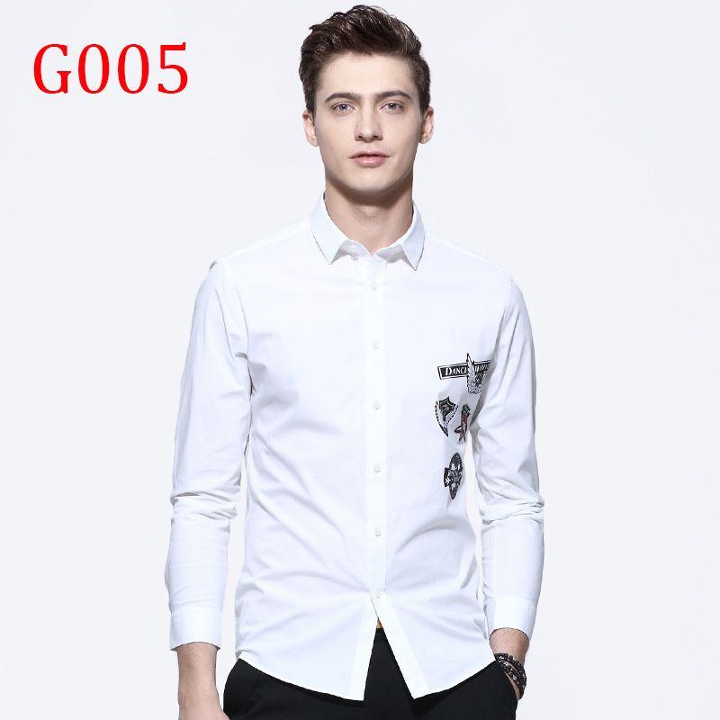 G005 Nouveau Mode Casual Hommes Chemise À Manches Longues Col Mandarin Manches Longues Y12/13/15/16