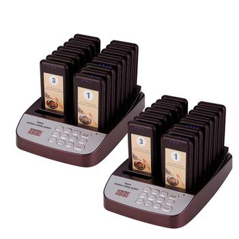 DAYTECH Restaurant Pager Calling System Self-Service Queue System Coaster Pager Pagering Call 32 Portabel Pagers 2 Charge Docks