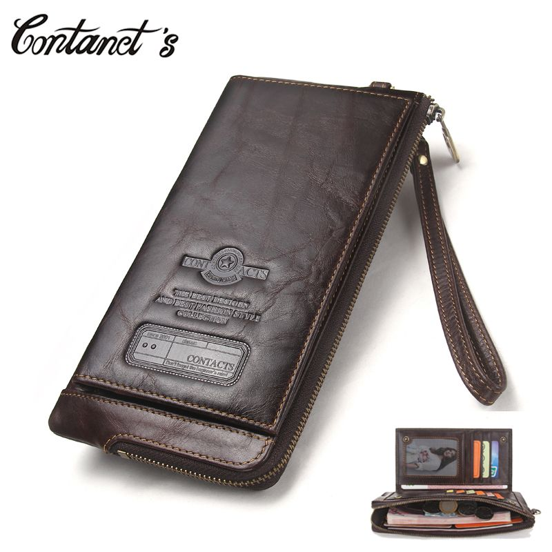 2018 Men Wallet Clutch Genuine Leather Brand Rfid Wallet Male Organizer <font><b>Cell</b></font> Phone Clutch Bag Long Coin Purse Free Engrave