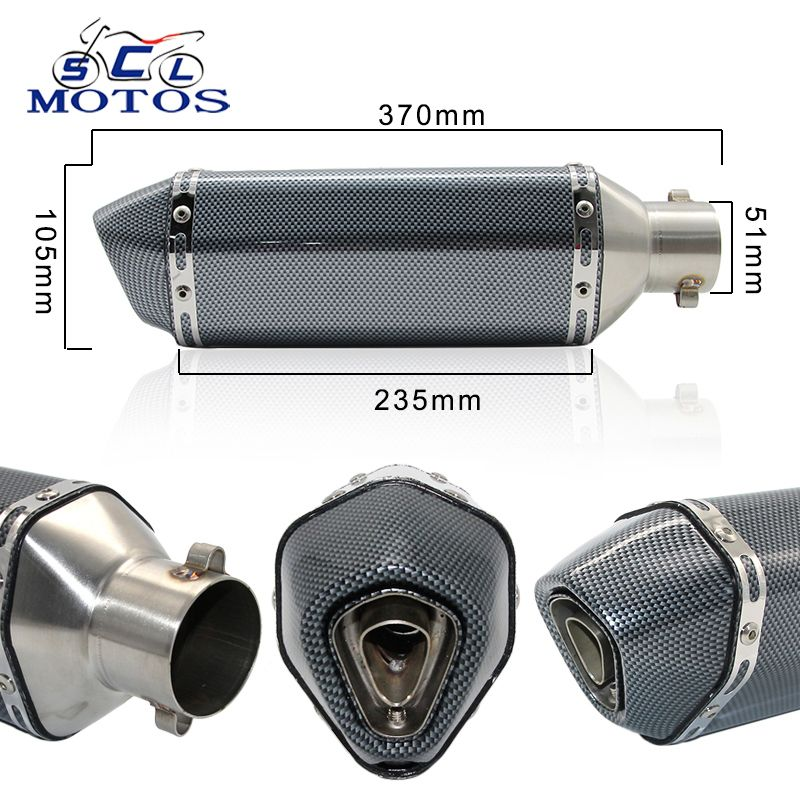 Sclmotos- Motorcycle Scooter ATV Akrapovic Exhaust Muffler Pipe CBR CBR125 CBR250 CB400 CB600 YZF FZ400 Z750 Nice Sound & Look
