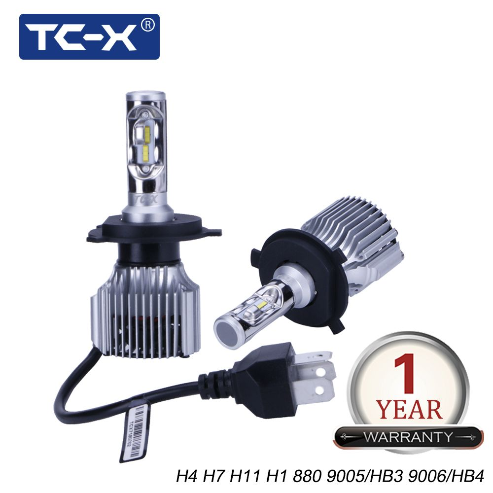 TC-X High Power H4 Compact Car Headlight 60W/Pair 6000Lm H7 LED H11 9006 9005 H1 880/H27 Car Light PTF Light High Low Beam Light