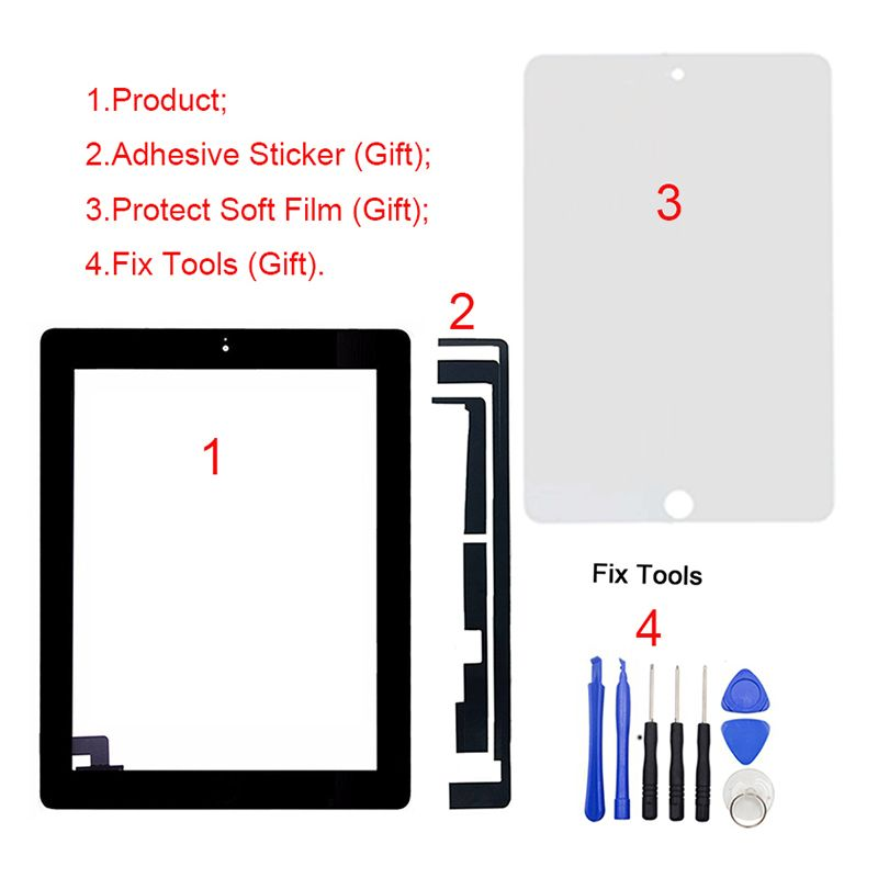 1Pcs Tested New For iPad 2 2nd Gen A1395 A1396 A1397 9.7 LCD Outer Touch Screen Digitizer Front Glass Panel Replacement