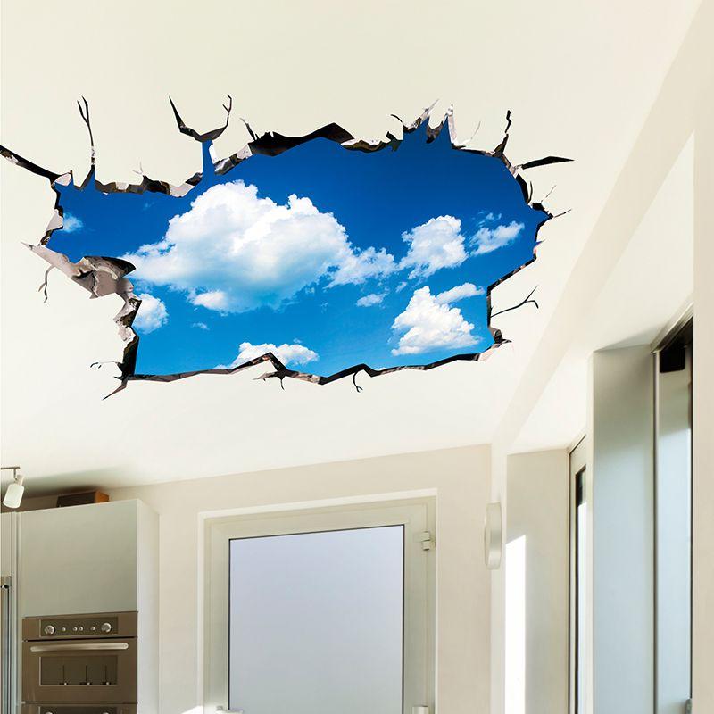 [SHIJUEHEZI] 3D Plafond Autocollants PVC Matériel Ciel Nuages autocollants de sol pour Chambres D'enfants Bébé Chambre Salon décoration murale de chambre