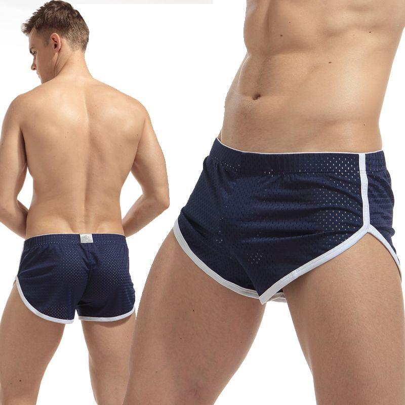 2017 Marque Hommes Boxeurs Sexy Hommes Mesh Sous-Vêtements Taille Basse Troncs Respirant À Séchage Rapide D'été Conception Accueil Slip Lâche Shorts
