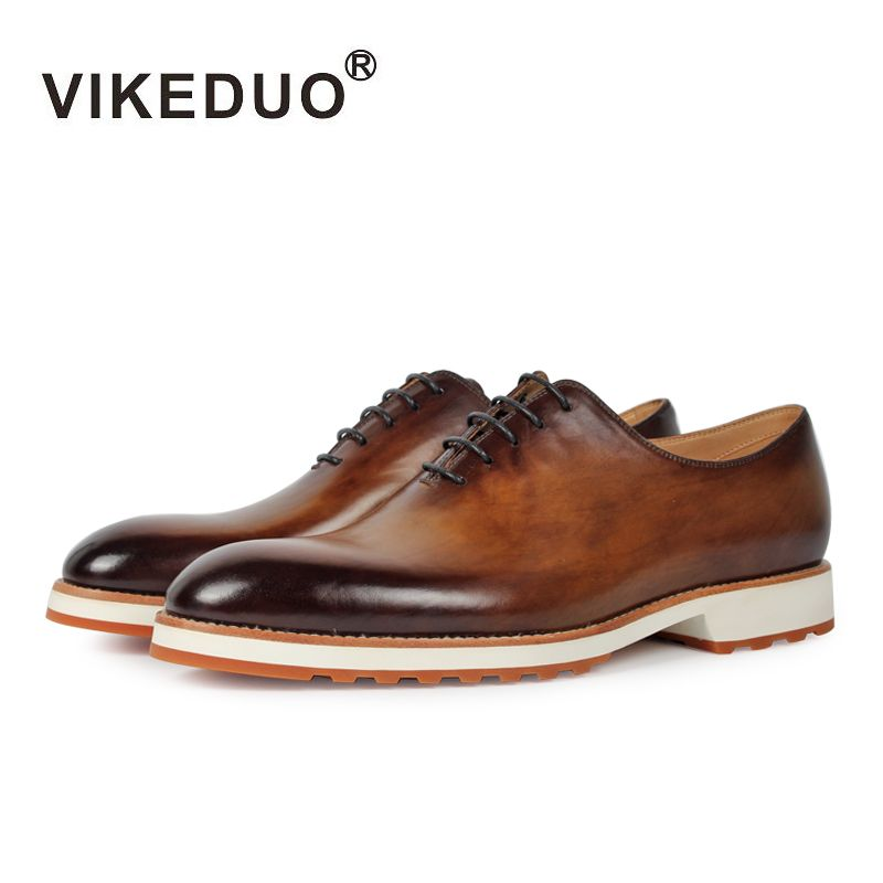 Vikeduo 2019 Handmade Retro Shoe Fashion Luxury Formal Party Wedding Male Dress Shoe Genuine Leather Men Oxford Patina Zapatos