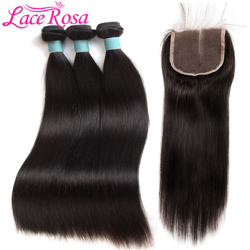 3 Bundles Straight Human Hair Bundles With Closure 4Pcs /Lot Brazilian Hair Weave Bundles With Closure Lace Rosa Non Remy