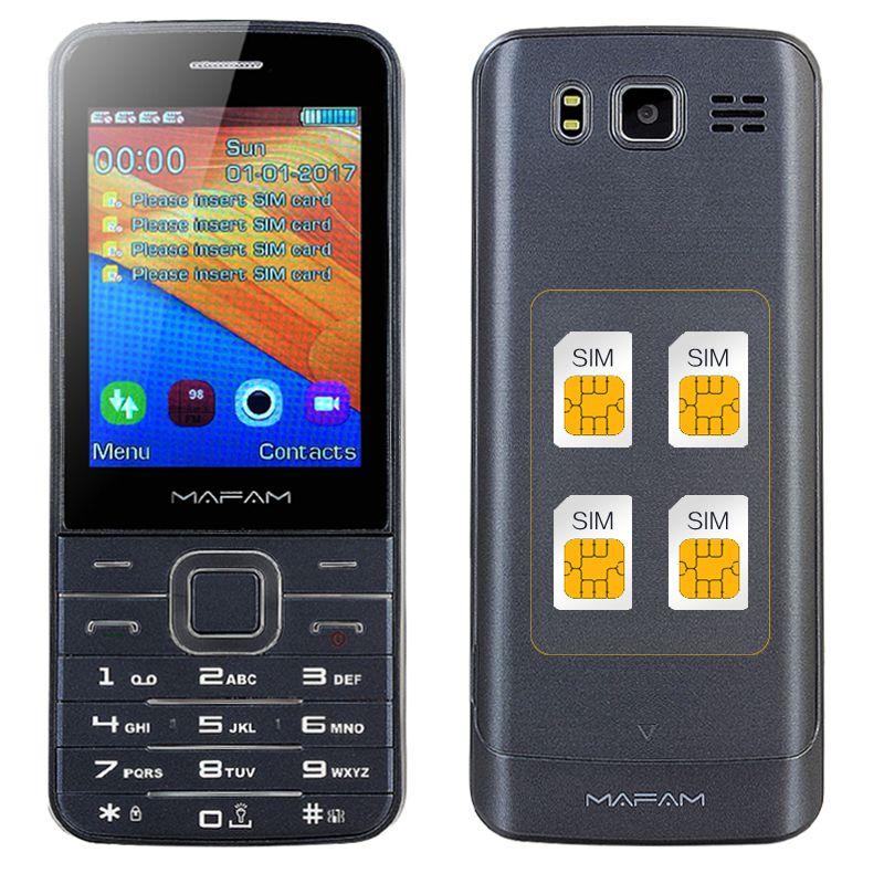 MAFAM Four Quad SIM 4 Four <font><b>Standby</b></font> Slim Senior Mobile Phone 2.8 HD Screen Bluetooth Dial Flashlight Magic Voice GPRS SOS V9500
