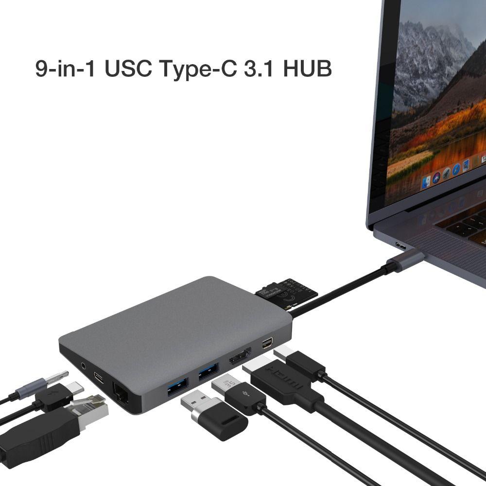 JZYuan USB C Hub to Mini DP HDMI RJ45 LAN Audio 3.5mm With PD USB 3.0 Card Reader Hub USB-C Dock For Macbook Pro Samsung S9/S8