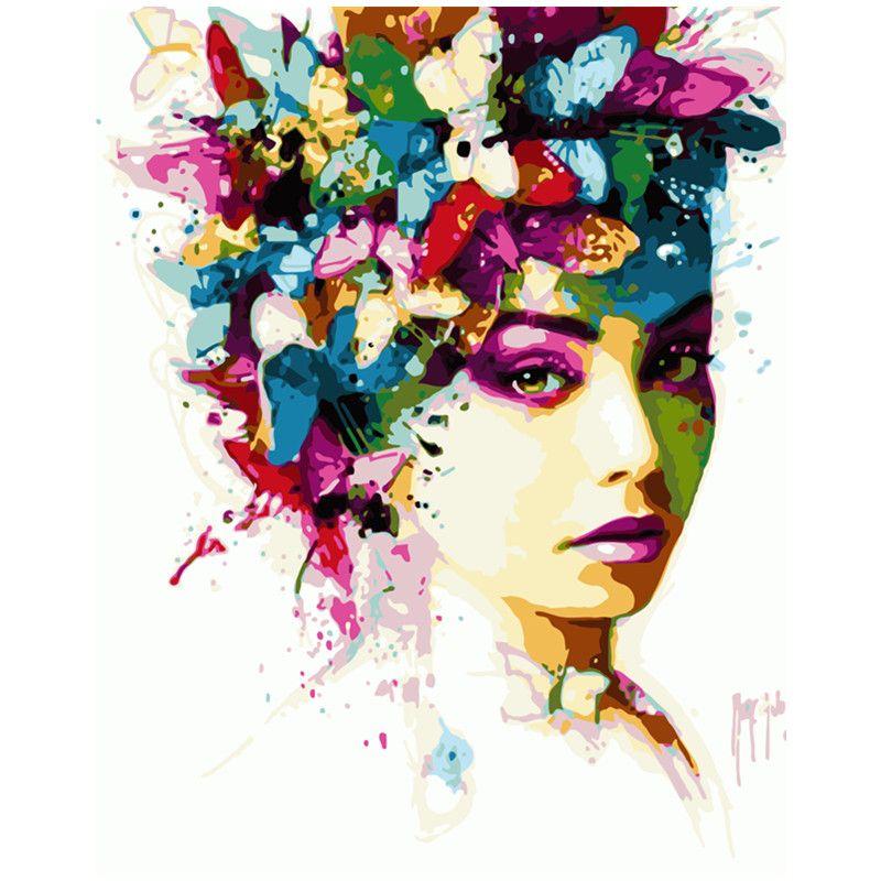 Peinture par numéros bricolage livraison directe 40x50 50x65cm beau papillon femme Figure toile mariage décoration Art photo cadeau