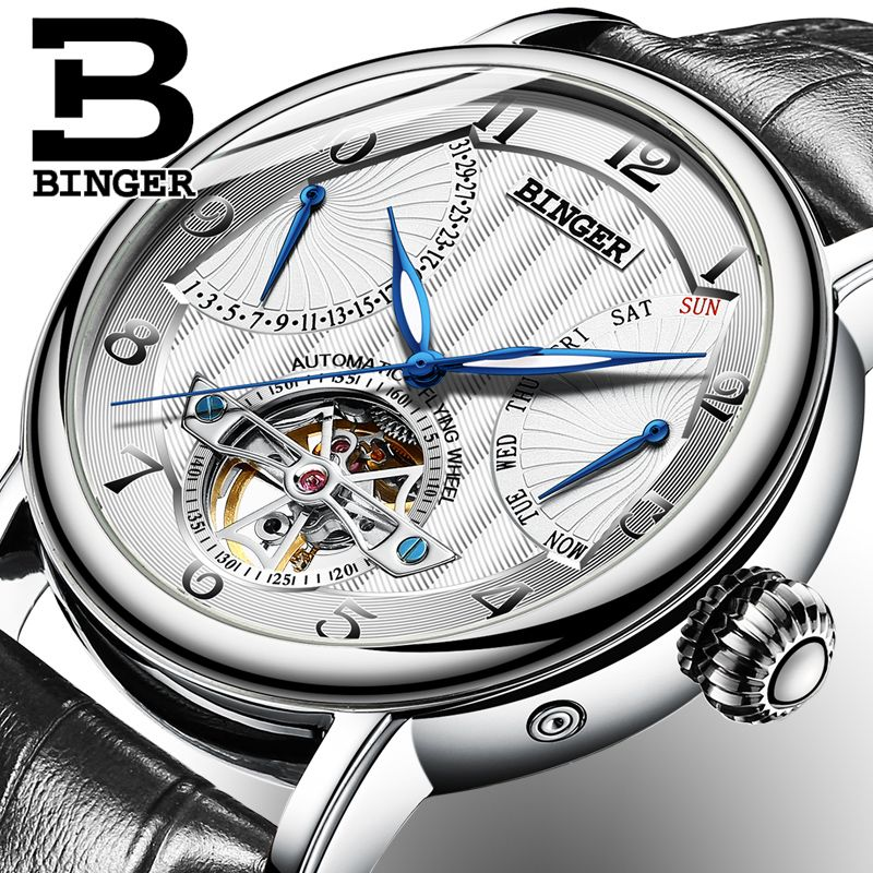 Genuine Luxury BINGER Brand men automatic mechanical self-wind sapphire watches calendar waterproof leather strap High grade