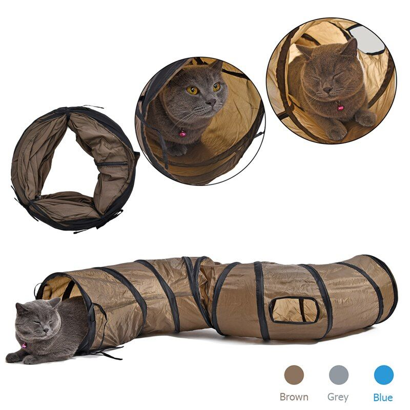 SFunny Pet Tunnel Cat Play Tunnel Brown Foldable 1 Holes Cat Tunnel Kitten Cat Toy Bulk Cat Toys Rabbit Play Tunnel