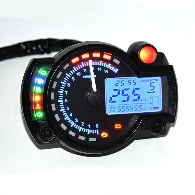 LumiParty 7 color display Motorcycle Digital Speedometer LCD Gauge Speedometer Tachometer Odometer Instrument Adjustable r25