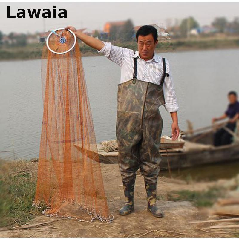 Lawaia Fishing Net Diamter 2.4M-7.2M High Quality Sports Hand Throw Fishing Net  American Style Cast Network With Sinkers