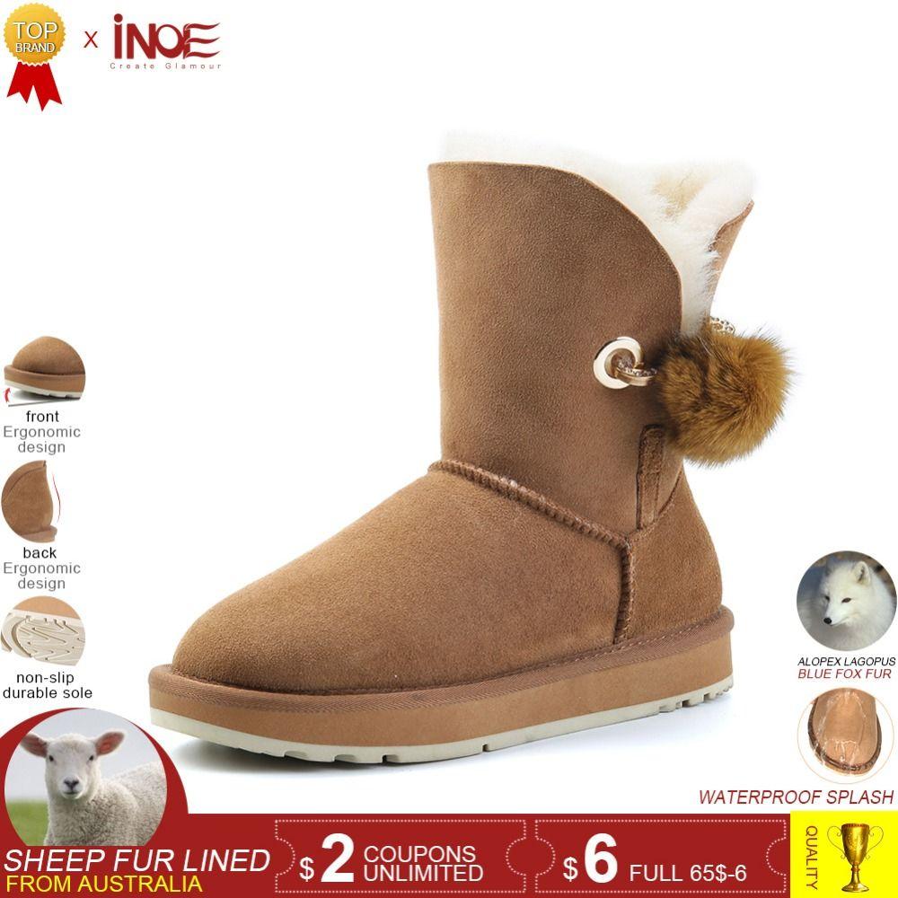 INOE crystal rhinestone pom-pom brooch real fox fur ball sheepskin suede leather wool fur lined winter snow boots grey black
