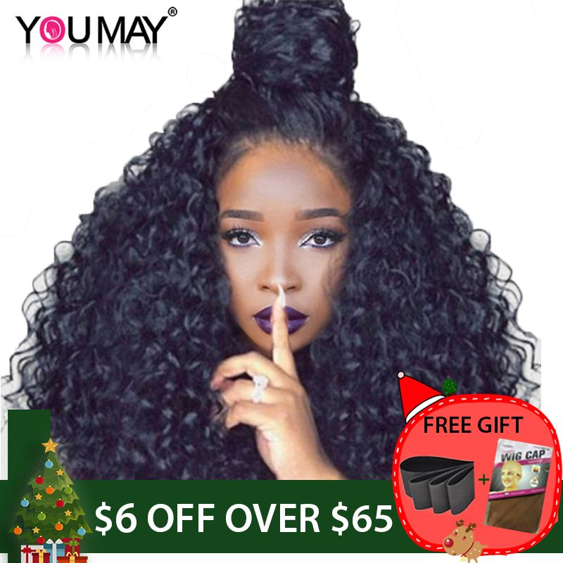 250% Density Brazilian Curly Human Hair Wigs <font><b>Full</b></font> Ends Lace Front Wigs For Women Natural Black Pre Plucked You May Remy Hair