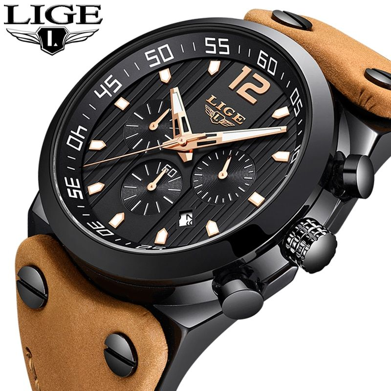 2018 LIGE Mens Watches Military Army Brand Luxury Sports Casual Waterproof Male Watch Quartz Stainless Steel Man Wristwatch XFCS