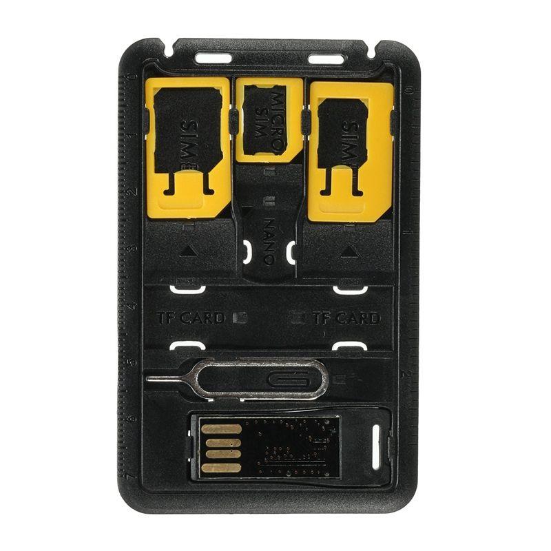 5 en 1 Portable Mini SIM Titulaire de la Carte De Stockage Cas Kits pour Nano Micro SIM Carte Adaptateur Carte Mémoire Reader Housse connecteur