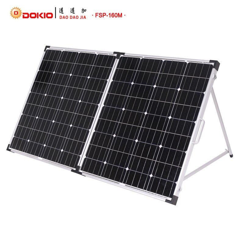 Dokio 160 W (2 PCS x 80 W) glas Faltbare Solar Panel China 18 V + 10A 12 V/24 V Controller Panel Solar Leicht zu Tragen zelle/System Ladegerät
