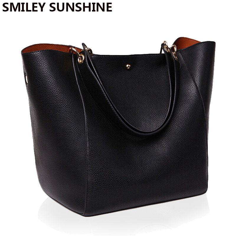 Women Messenger Shoulder Bag Big PU Leather Bag Female Genuine Black Handbag Lady Tote Crossbody Bag sac a main femme de marque