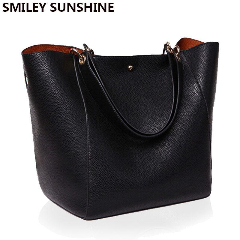 Women <font><b>Messenger</b></font> Shoulder Bag Big PU Leather Bag Female Genuine Black Handbag Lady Tote Crossbody Bag sac a main femme de marque
