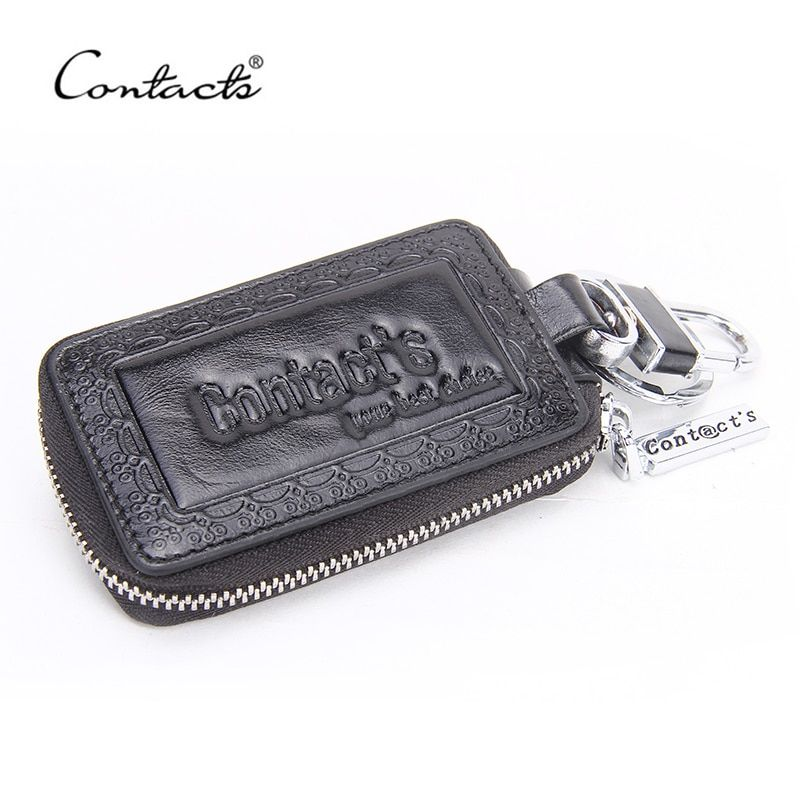 CONTACT'S New Arrival Oil wax Leather Car Key Wallets Men's Women 100% Genuine Cow Leather Bag Fashion Women Housekeeper Holders