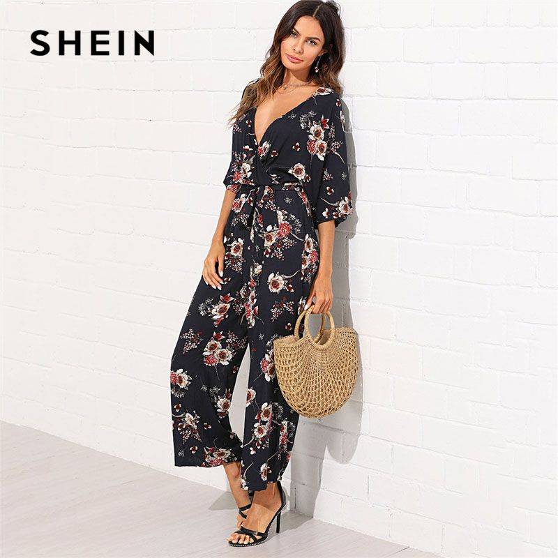 SHEIN Surplice <font><b>Neck</b></font> Wide Leg Maxi Floral Jumpsuit Women Deep V <font><b>Neck</b></font> Batwing 3/4 Sleeve Belted Rompers 2018 Elegant Jumpsuit