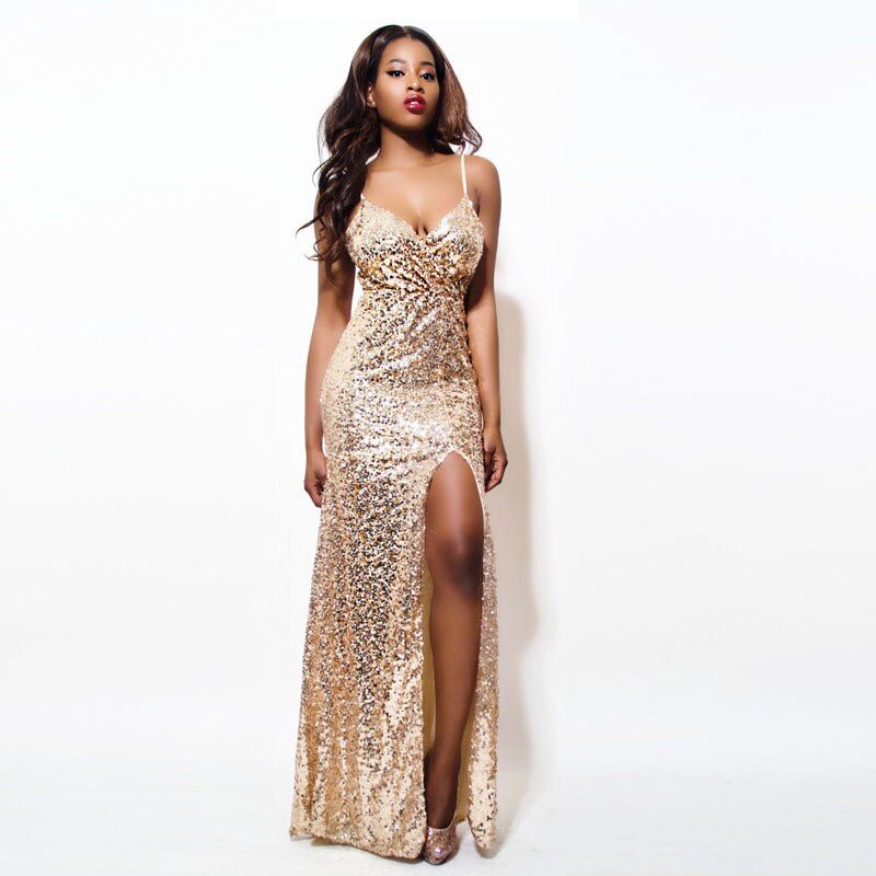 2017 Gold Sequin Maxi Dress Elegant Evening Paillette Robe Sexy high slit Bustier Dress spaghetti strap v neck mermaid dresses