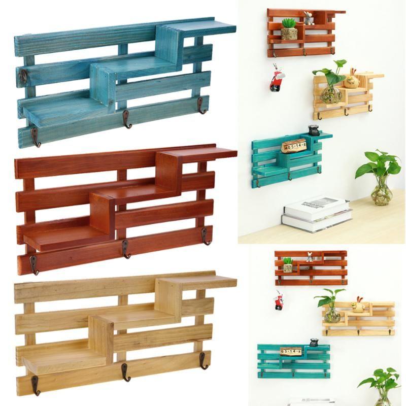Экологичные настенные деревянные полки держатель Кухня Ванная комната стеллаж для хранения Организатор DIY висит украшение дома