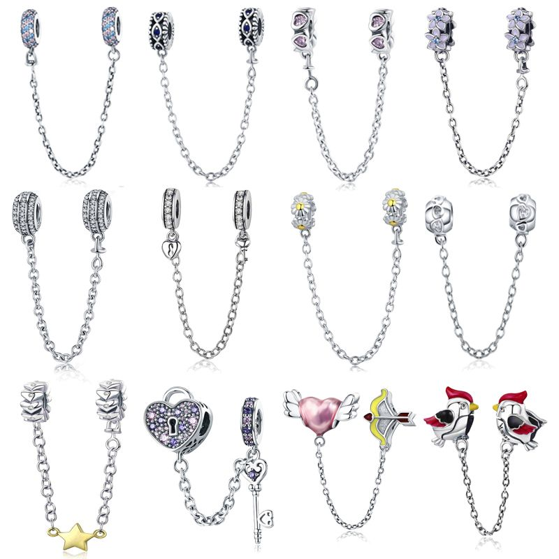 Réel 925 Sterling Silver Pave D'inspiration Sécurité Chaîne Charme Avec Clear CZ Fit Original wst Bracelet Authentique Bijoux Cadeau