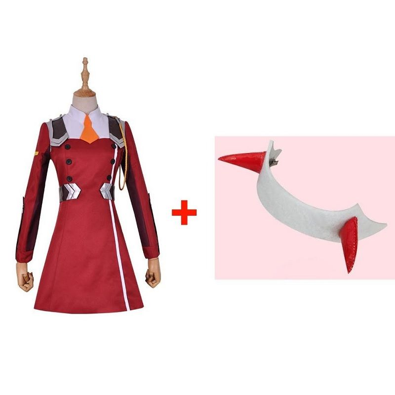 Anime DARLING in the FRANXX 02 Zero Two Cosplay Costume DFXX Cosplay Costume for Women Full Set ( Dress + Headwear )