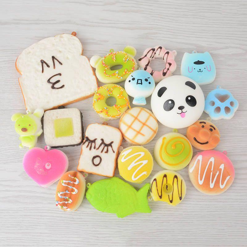 20pcs Cute Cartoon Mobile Phone Straps Squishy Mini Jumbo Soft Panda Bread Phone Keychain for Phone Decor Kawaii Strap Kids Gift