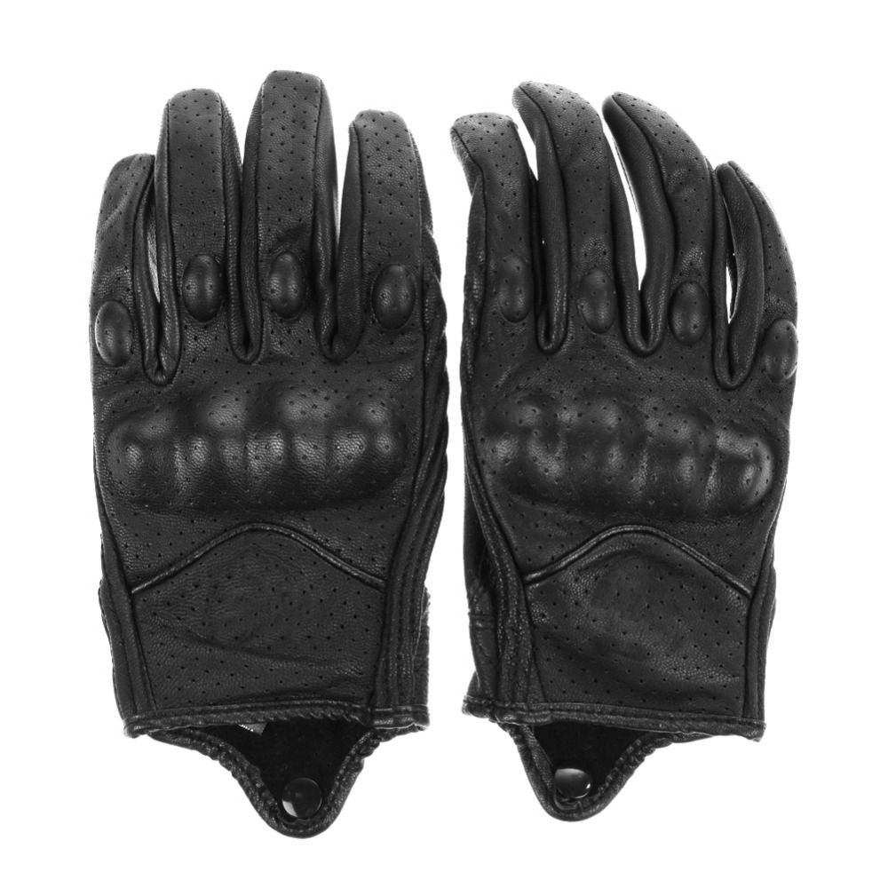 Men Motorcycle Gloves Outdoor Sports Full Finger Motorcycle Riding <font><b>Protective</b></font> Armor High Quality Black Short Leather Gloves