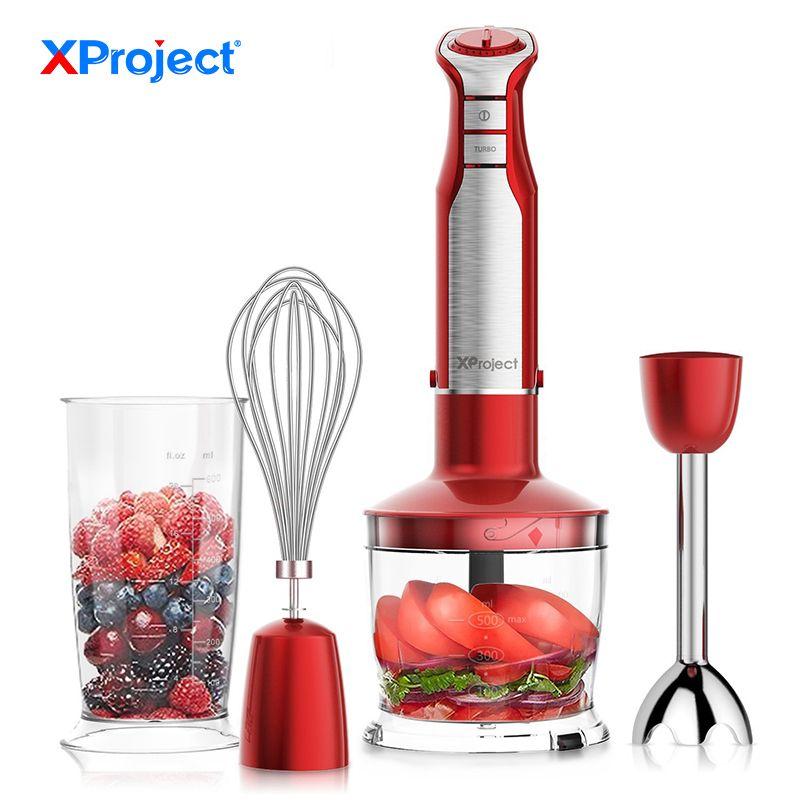 XProject 6 Geschwindigkeit Leistungsstarke Immersion Hand Mixer 800 W 4-in-1 Hand Mixer mixer mit Küchenmaschine smoothie Bar Obst Mixer