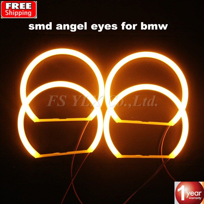 4x131mm SMD LED Angel Eyes For BMW E46 Projector Cotton Yellow amber Car LED Angel Eyes headlights for BMW E46 E36 E39 E38