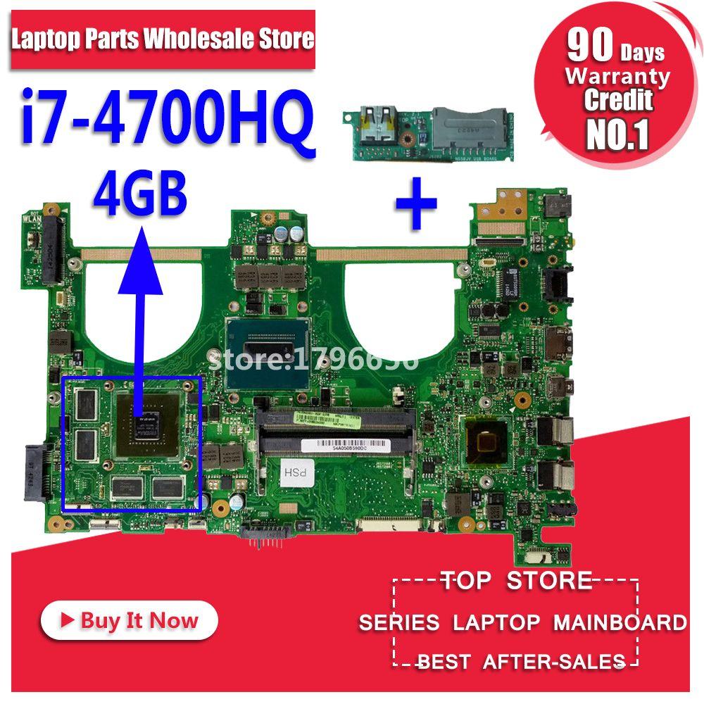 Send board+N550JV Motherboard i7-4700HQ gt750 For ASUS N550JK G550JK Q550J laptop MotherboardN550JV Mainboard N550JV Motherboard